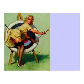 Vintage Gil Elvgren Target Archery Pinup Girl Postcard