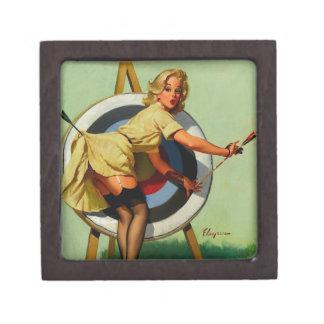 Vintage Gil Elvgren Target Archery Pinup Girl Premium Keepsake Boxes
