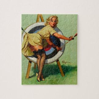 Vintage Gil Elvgren Target Archery Pinup Girl Puzzles