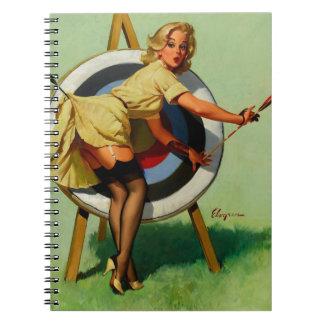 Vintage Gil Elvgren Target Archery Pinup Girl Spiral Notebook