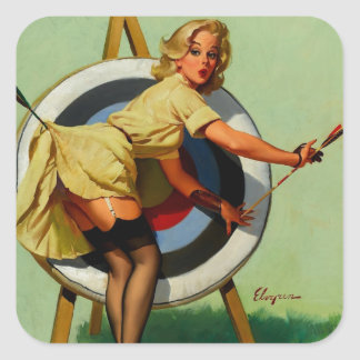 Vintage Gil Elvgren Target Archery Pinup Girl Square Sticker