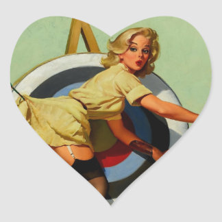 Vintage Gil Elvgren Target Archery Pinup Girl Heart Stickers