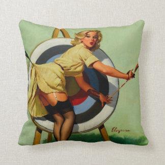 Vintage Gil Elvgren Target Archery Pinup Girl Throw Pillow