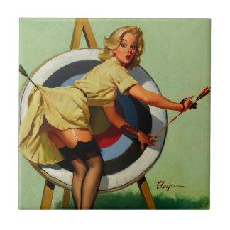Vintage Gil Elvgren Target Archery Pinup Girl Ceramic Tiles