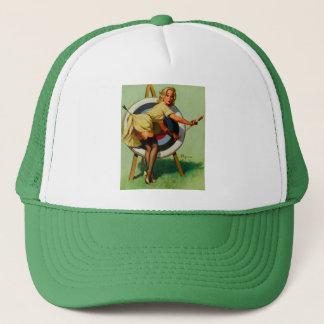 Vintage Gil Elvgren Target Archery Pinup Girl Trucker Hat