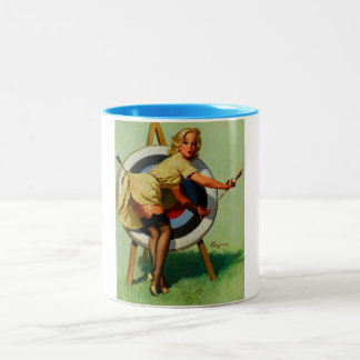 Vintage Gil Elvgren Target Archery Pinup Girl Two-Tone Coffee Mug