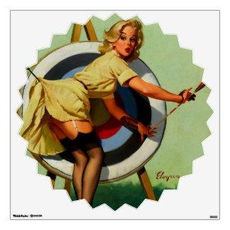 Vintage Gil Elvgren Target Archery Pinup Girl Wall Decal
