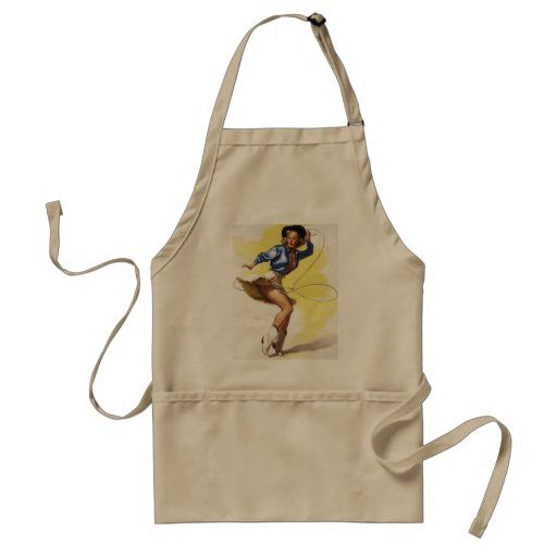 Vintage Gil Elvgren Western Cowgirl Pin UP Girl Adult Apron