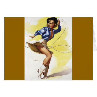 Vintage Gil Elvgren Western Cowgirl Pin UP Girl Card