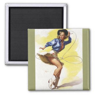 Vintage Gil Elvgren Western Cowgirl Pin UP Girl Magnet