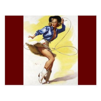 Vintage Gil Elvgren Western Cowgirl Pin UP Girl Postcard