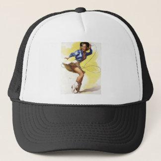 Vintage Gil Elvgren Western Cowgirl Pin UP Girl Trucker Hat