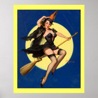 Vintage Gil Elvgren Witch on Broom Pinup Girl Poster