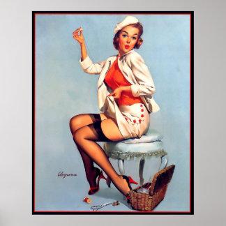 Vintage Gil retro Elvgren que cose el Pin ENCIMA d Posters