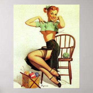 Vintage Gil retro Elvgren que hace punto el Pin en Poster