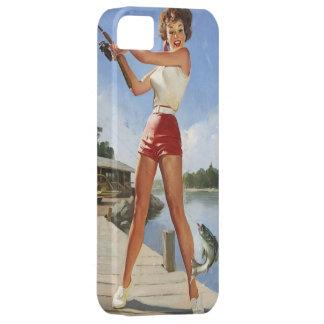 Vintage Gil retro Elvgren que pesca al chica model iPhone 5 Case-Mate Coberturas