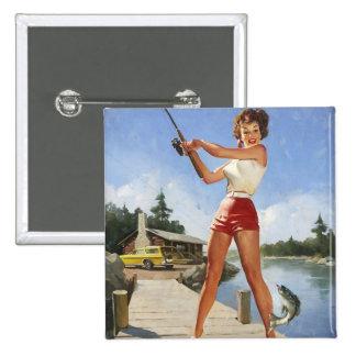 Vintage Gil retro Elvgren que pesca al chica model Pin