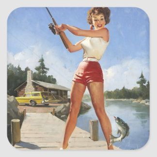Vintage Gil retro Elvgren que pesca al chica Pegatina Cuadradas Personalizadas