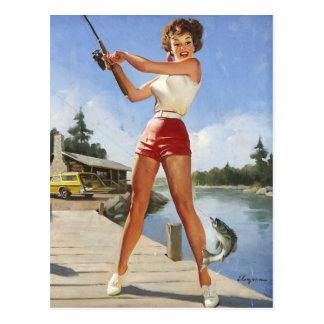 Vintage Gil retro Elvgren que pesca al chica Postales