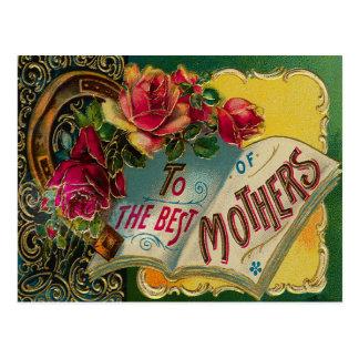 Vintage Gilded Roses Mother's Day Postcard