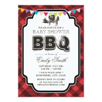 Vintage Gingham Pig Roast Baby Shower BBQ Invitation