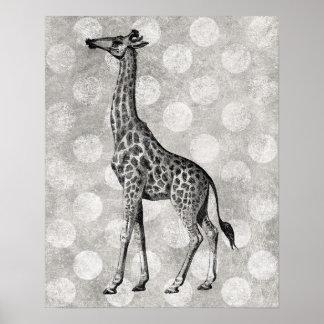 Vintage Giraffe Black and White Print