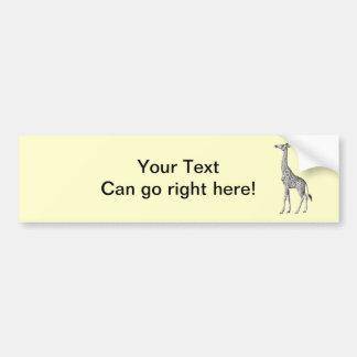 Vintage Giraffe Bumper Sticker