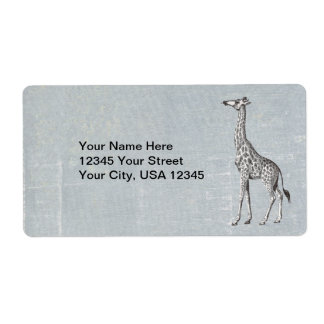 Vintage Giraffe Label