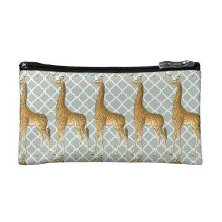 Vintage Giraffe on Grey Quatrefoil Makeup Bag
