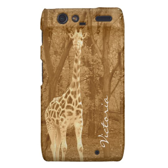 Vintage Giraffe+Personalize Name Droid RAZR Cover
