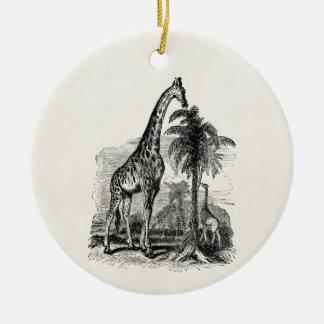 Vintage Giraffe Personalized Animal Illustration Ceramic Ornament