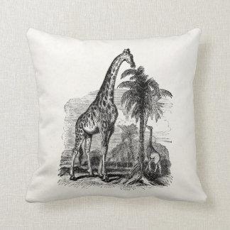 Vintage Giraffe Personalized Animal Illustration Pillows