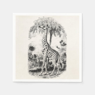 Vintage Giraffe Personalized Animal Illustration Disposable Napkin