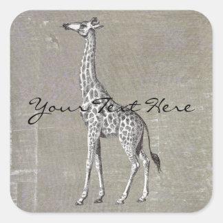Vintage Giraffe Square Sticker