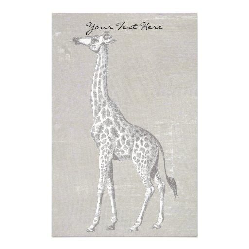 Vintage Giraffe Stationery Design
