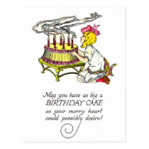 Vintage Girl and Birthday Cake Postcard