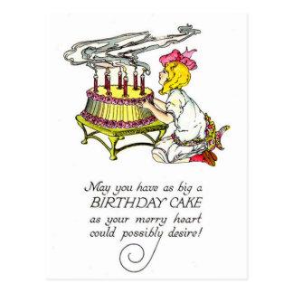 Vintage Girl and Birthday Cake Postcard