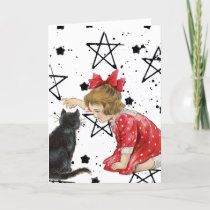 Vintage Girl and Black Cat Halloween Holiday Card