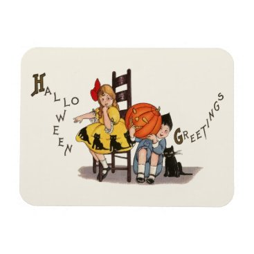 Halloween Themed Vintage Girl and Boy Halloween Greeting Magnet