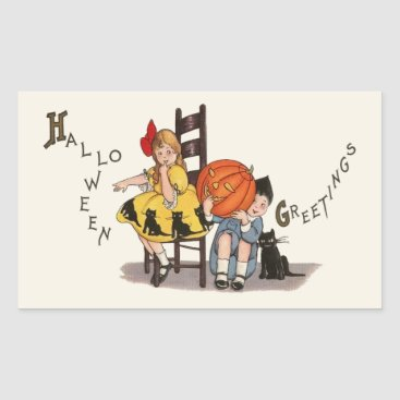 Halloween Themed Vintage Girl and Boy Halloween Greeting Rectangular Sticker