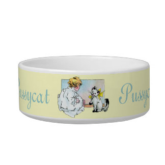 Vintage Girl and Cat Bowl