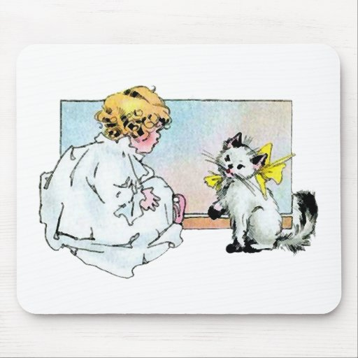 Vintage Girl and Cat Mouse Pad