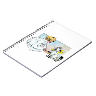 Vintage Girl and Cat Spiral Note Books