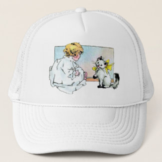 Vintage Girl and Cat Trucker Hat