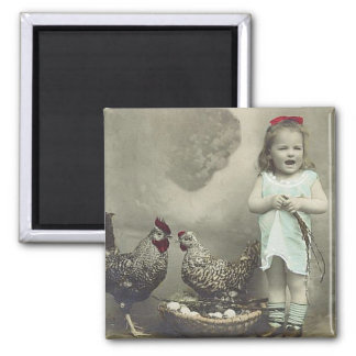 Vintage girl and chickens Magnet