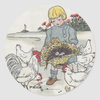 Vintage Girl And Chickens Pricing Stickers sticker