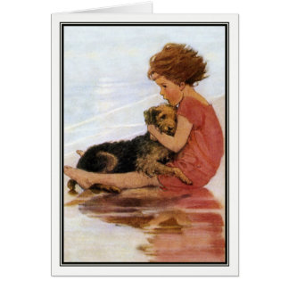 Vintage Girl and Dog by Jessie Willcox Smith Card