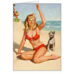 Vintage Girl and Dog on Beach Greeting Card