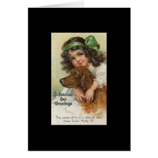 Vintage Girl and Dog St. Patrick's Day Greeting Cards
