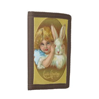 Vintage Girl and Easter Bunny Tri-fold Wallets